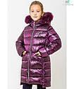 Модный зимний пуховик на девочку Сабрина с натуральным мехом Размеры 122- 164, фото 4