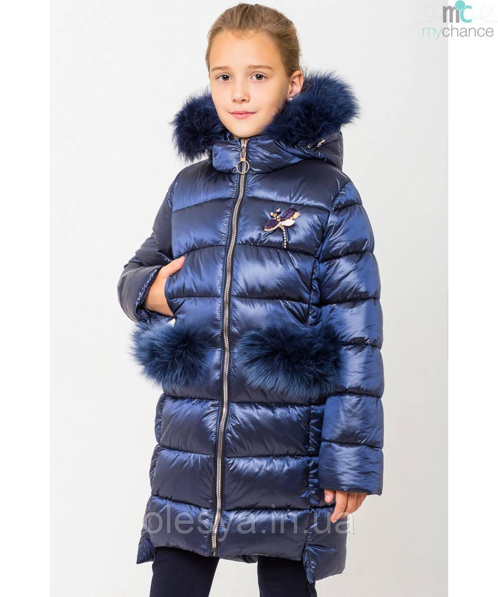 Модный зимний пуховик на девочку Сабрина с натуральным мехом Размеры 122- 164