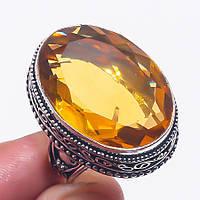 Цитрин кольцо с цитрином в серебре 19,25 размер Индия, фото 1