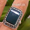Серебряное кольцо с зеленым агатом и марказитами, фото 6