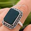 Серебряное кольцо с зеленым агатом и марказитами, фото 5