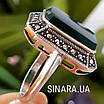 Серебряное кольцо с зеленым агатом и марказитами, фото 3