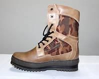 """Кожаные ботинки берцы """"Камуфляж беж"""", фото 1"""