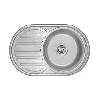 Кухонная мойка стальная Imperial овальная (770x500 мм), микротекстура, сталь 0,6 мм (IMP775006DEC)