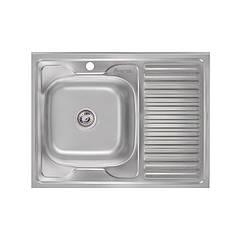 Кухонная мойка стальная Imperial прямоугольная (800x600 мм), глянец, сталь 0,6 мм (IMP6080L06POL)