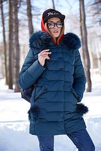 Женское зимнее пальто Гелана-2,мех песец