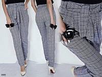 Брюки женские завышенная талия пояс завязка костюмка 42-44,46-48