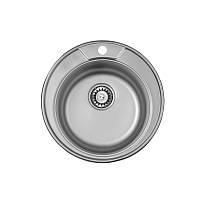 Кухонная мойка стальная ULA круглая (ø490 мм), микротекстура, сталь 0,8 мм (ULA7104DEC08)