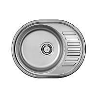 Кухонная мойка стальная ULA овальная (570x450 мм), микротекстура, сталь 0,8 мм (ULA7112DEC08)