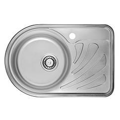 Кухонная мойка стальная ULA ассиметричная (670x440 мм), микротекстура, сталь 0,8 мм (ULA7111DEC08L)