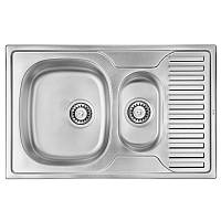 Кухонная мойка стальная ULA прямоугольная (780x500 мм), микротекстура, сталь 0,8 мм (ULA7301DEC08)