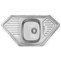 Кухонная мойка стальная ULA трапецевидная (950x500 мм), микротекстура, сталь 0,8 мм (ULA7801DEC08)