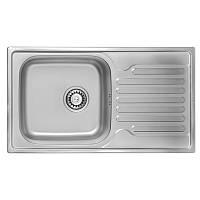 Кухонная мойка стальная ULA прямоугольная (780x430 мм), глянец, сталь 0,8 мм (ULA7204POL08)