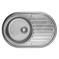 Кухонная мойка стальная ULA овальная (770x500 мм), матовая, сталь 0,8 мм (ULA7108SAT08)
