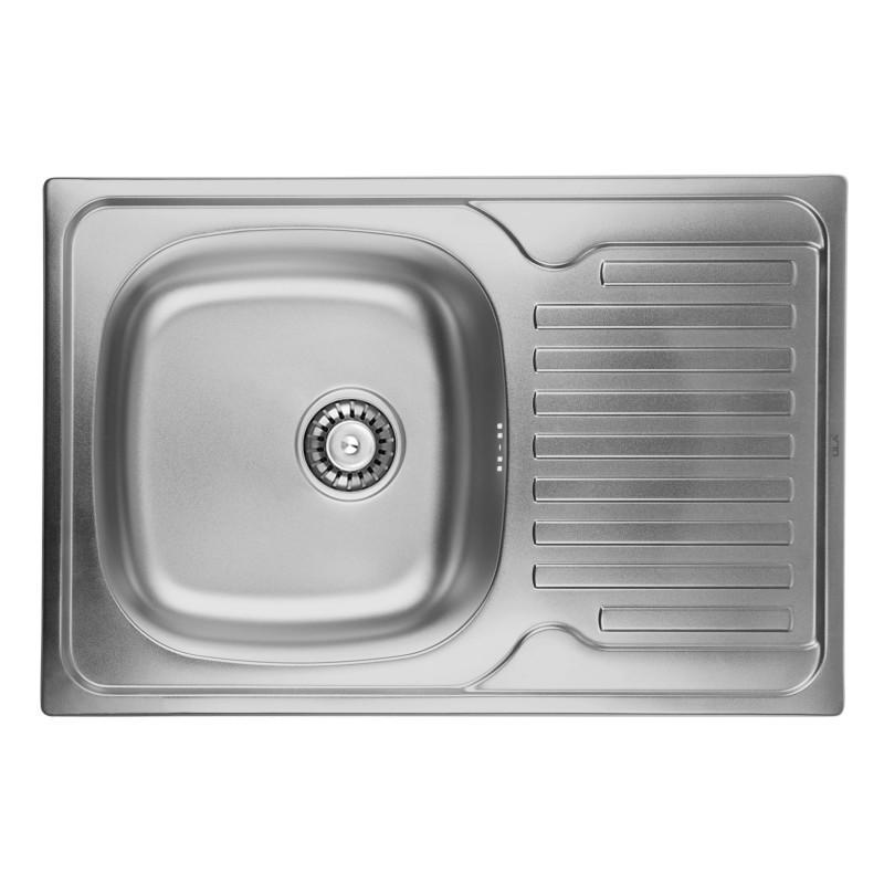 Кухонная мойка стальная ULA прямоугольная (780x500 мм), матовая, сталь 0,8 мм (ULA7203SAT08)