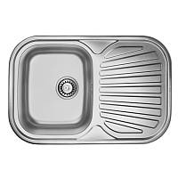 Кухонная мойка стальная ULA прямоугольная (740x480 мм), микротекстура, сталь 0,8 мм (ULA7707DEC08)