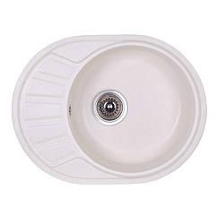 🇱🇻 Кухонная гранитная мойка Fosto овальная (580x450 мм), одночашевая, цвет метель (FOS5845SGA203)