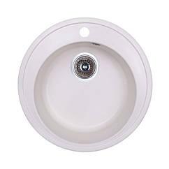 🇱🇻 Кухонная гранитная мойка Fosto круглая (ø510 мм), одночашевая, цвет метель (FOSD510SGA203)