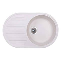 🇱🇻 Кухонная гранитная мойка Fosto овальная (740x460 мм), одночашевая, цвет метель (FOS7446SGA203)