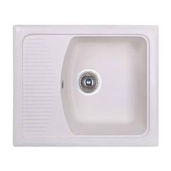 🇱🇻 Кухонная гранитная мойка Fosto прямоугольная (580x500 мм), одночашевая, цвет метель (FOS5850SGA203)