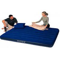 Матрас надувной Intex 68765 152х203х22 см с насосом и подушками, фото 1
