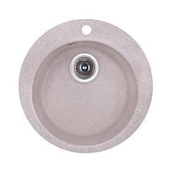🇱🇻 Кухонная гранитная мойка Fosto круглая (ø470 мм), одночашевая, цвет песок (FOSD470SGA300)