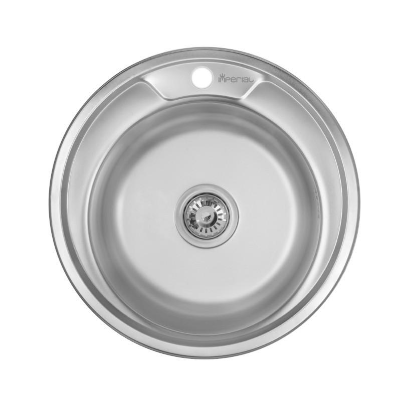 Кухонная мойка стальная Imperial круглая (ø490 мм), матовая, сталь 0,6 мм (IMP490A06SAT160)