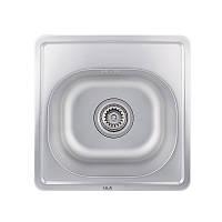 Кухонная мойка стальная ULA квадратная (380x380 мм), матовая, сталь 0,8 мм (ULA7706SAT08)
