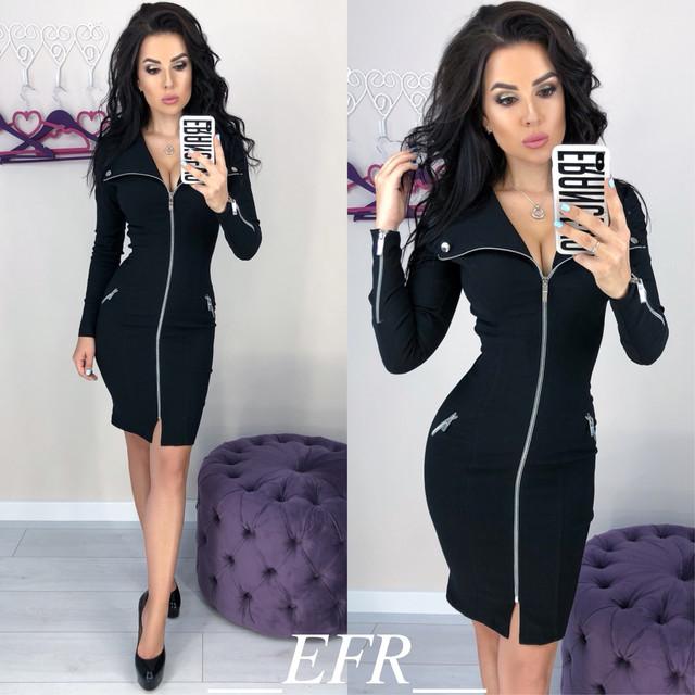 09ed9b2135c36a0 Обтягивающее платье на молнии. Размеры: 42-44, 46-48. Материал: стрейч-джинс.  Цвета: синий, бордовый, черный, бутылка. Длина: 90 см