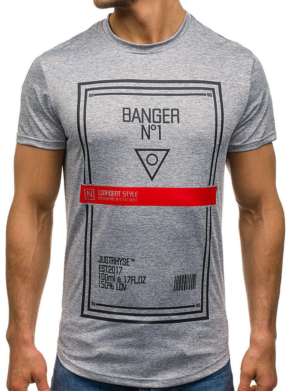 Чоловіча футболка з принтом сіра (розмір L)