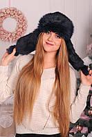 Женский головной убор из яркого натурального кроличьего меха  №420-02