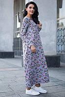 d0dd6287f8c4 Серое хлопковое платье PAMELA макси в стиле oversize с боковыми карманами