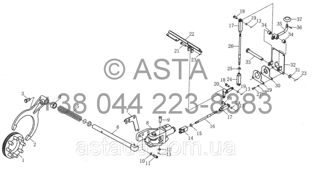 Задняя коробка передач - Блокировка дифференциала и устройства управления (опция) на YTO X1304