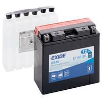 Аккумуляторы мото Exide ET14B-BS: 12 А·ч - 12 V; 190 (ET14B-BS), 150x70x145 мм