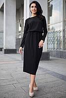 Черное платье Belly длиной миди с юбкой в рубчик и длинными рукавами