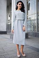 Серое платье Belly длиной миди с юбкой в рубчик