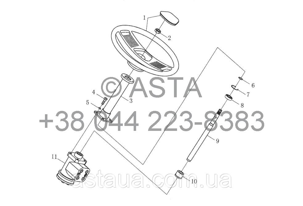 Рулевой механизм в сборе I (нерегулируемый) на YTO X1304