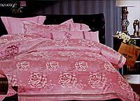 """Постельное белье, сатин,  жаккард, """"Роза"""" розовый"""