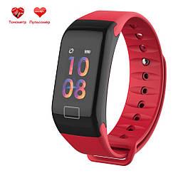 Фитнес браслет WearFit F1C с функцией тонометра (цветной экран). Красный.