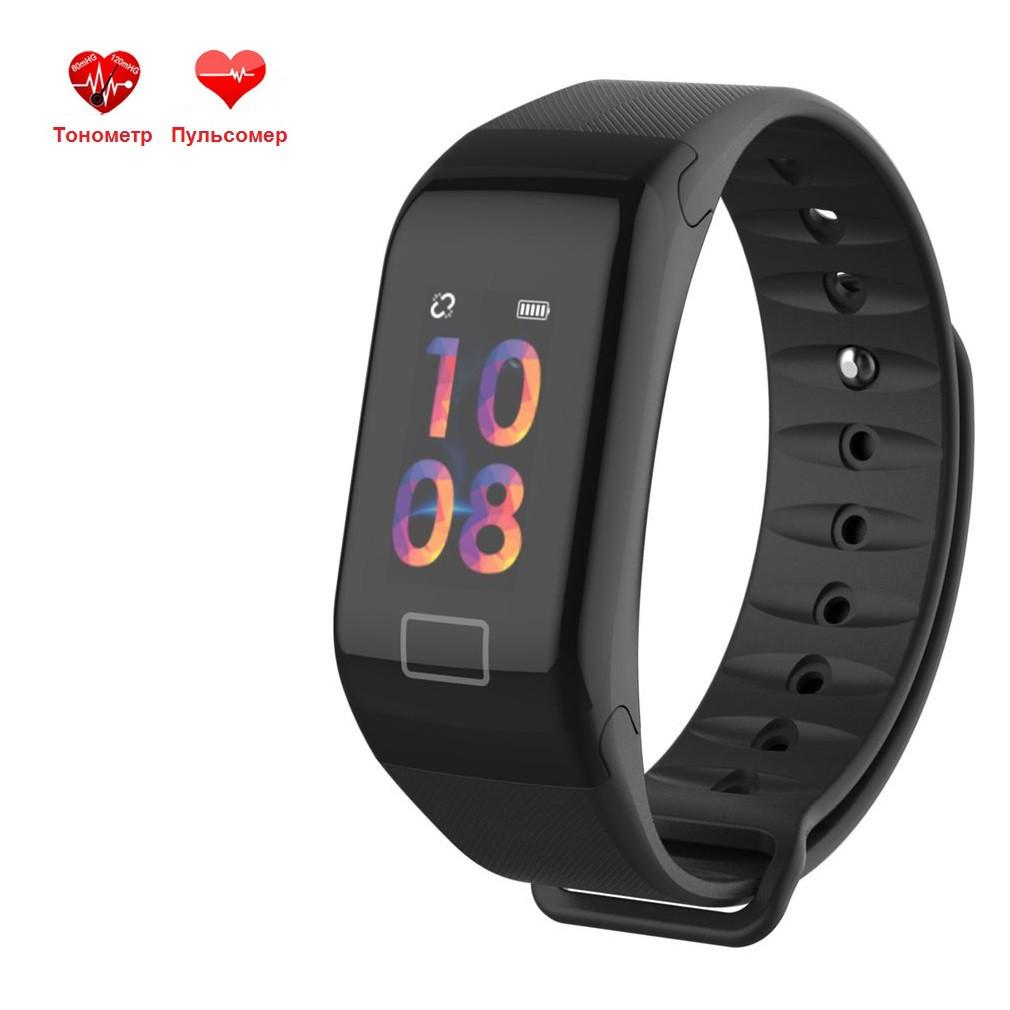 Фитнес браслет WearFit F1C с функцией тонометра (цветной экран).Черный.
