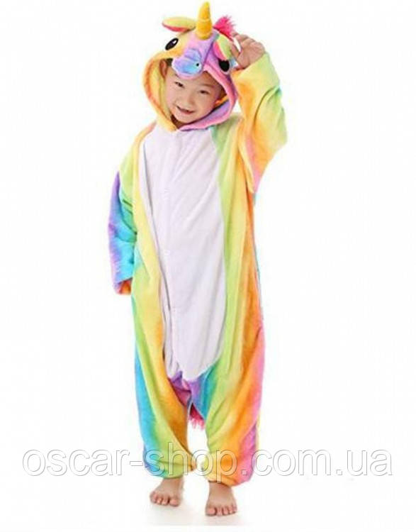 Детское кигуруми радужный единорог / пижама Кигуруми 110 см