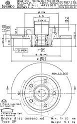 Тормозной диск задний с подшипником на Renault Trafic  2001->  — Brembo - (Италия) - 08.9597.17