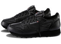 Мужские кроссовки Reebok Classic Black (кожа) (реплика)