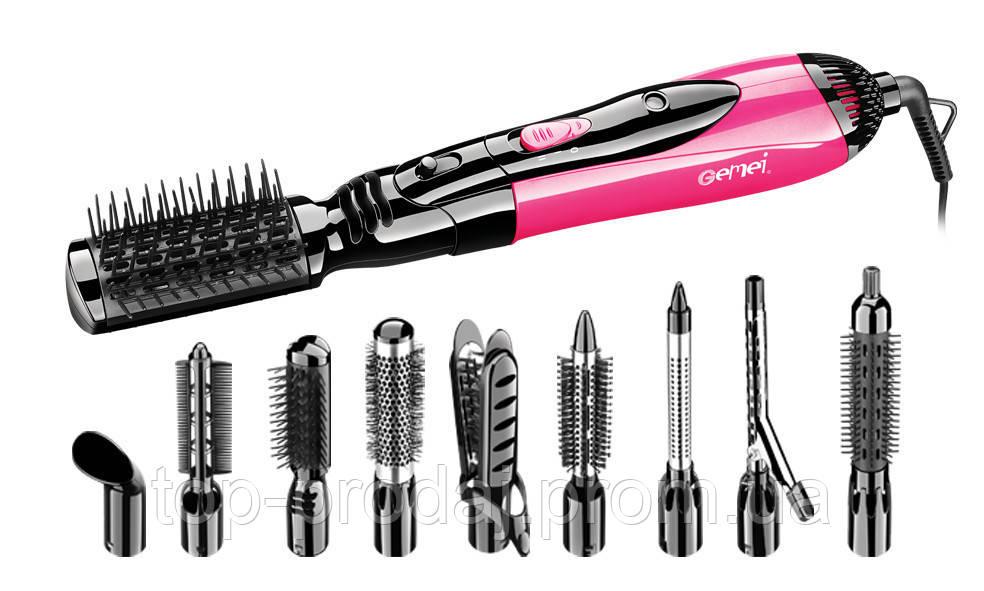 Фен GM 4835, Фен щетка GEMEI, Стайлер для волос 10 в 1, Воздушный стайлер для волос, Прибор для укладки фен