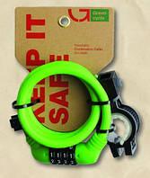 Кодовый замок Green Cycle GCL-А600 в силиконовой обойме с тросом 10х150cm (зеленый, белый)