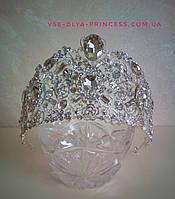 Высокая свадебная корона, диадема, тиара под серебро,  высота 7,5 см., фото 1