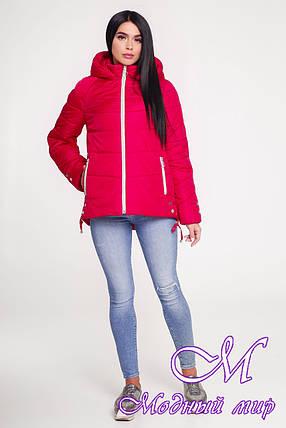 Женская осенняя куртка красного цвета (р. 44-58) арт. 1099 Тон 76, фото 2