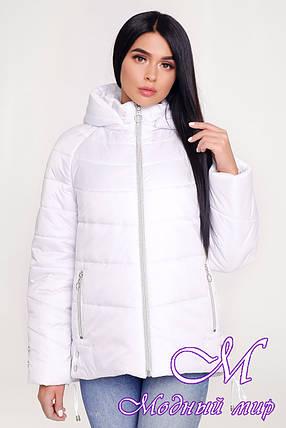 Женская белая куртка осень весна (р. 44-58) арт. 1099 Тон 10, фото 2