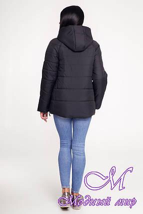 Женская черная куртка осень весна (р. 44-58) арт. 1099 Тон 21, фото 2