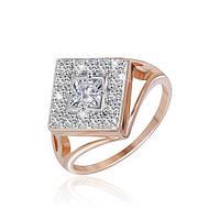 Позолоченое кольцо Ромбо 585 пробы на серебре 925 пробы